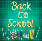 Back to School Made of Pencil Typography with School Supplies Stock Image