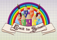 Back to School. Magic  school castle card Stock Images