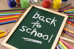 Back to school message in chalk on small blackboard Stock Photos