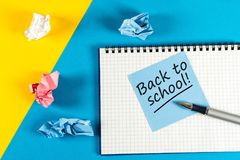Back to school - Message at notepad. Education concept, 1 september time stock photos