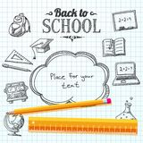 Back to school message on paper with speech bubble. Back to school message on school paper with speech bubble for your text. Vector illustration Stock Photography