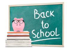 Back to school message and piggy bank Royalty Free Stock Photography
