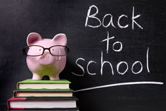 Back to school message, piggy bank, education savings concept Stock Images