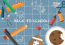 Back to school message vector. On blue background Stock Photography