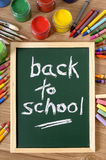 Back to school message written in chalk on chalkboard, vertical Royalty Free Stock Image