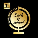Back to school minimal icons. Black and gold style. September 1st vector illustration