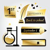 Back to school minimal icons. Black and gold style. September 1st royalty free illustration
