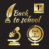 Back to school minimal icons. Black and gold style. September 1st stock illustration