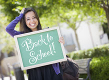 Back to School Mixed Race Female Student Holding Chalkboard Royalty Free Stock Photo