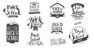 Back to school monohrom labels. Welcome back to school label collection. School 2017 tags set. Back to school logos. Vector illustration. Hand drawn lettering stock illustration
