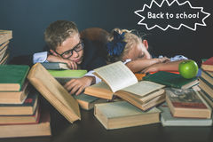Back to school. Motivate your child to study boring subject Stock Images