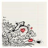 Back to school naive primitive doodles hand drawn with ink. Back to school naive primitive doodles hand drawn with pen and ink on notebook page, children´s Royalty Free Stock Images