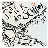 Back to school naive primitive doodles hand drawn with ink Stock Image
