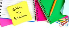 Back to School note pad with border of school supplies Stock Image