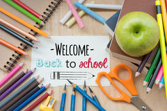 `Back to School` on note paper about with education Stock Images