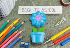 Back to school note in a paper holder Royalty Free Stock Image