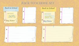 Back to school note paper savings collection vector illustration