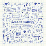 Back to school. Notebook doodle set. Freehand drawing Royalty Free Stock Photos