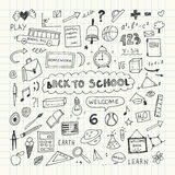 Back to school. Notebook doodle set. Freehand drawing Stock Photos
