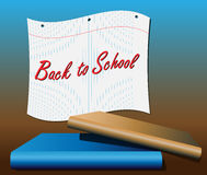 Back to school notebook paper. Back to school banner of notebook paper with books in foreground Stock Photos
