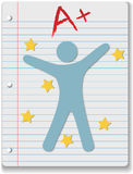 Back to School notebook person. Back to School stars on ruled notebook paper supply A+ grade for student Stock Image