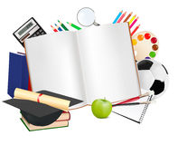 Back to school. Notebook with school supplie Royalty Free Stock Photo