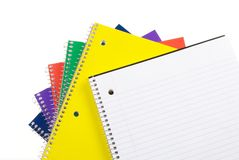 Back To School Notebooks. Colorful Spiral Notebooks with Room for Copy Stock Photos