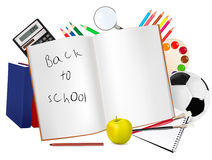 Back to school. Notepad with school supplies. Royalty Free Stock Photo
