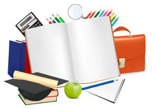 Back to school. Notepad with school supplies. Stock Images