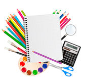 Back to school. Notepad with school supplies. Royalty Free Stock Photography