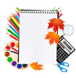 Back to school. Notepad with school supplies. Royalty Free Stock Image