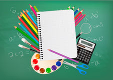 Back to school. Notepad with school supplies. Royalty Free Stock Photos