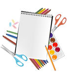 Back to school. Notepad with supplies. Royalty Free Stock Photos