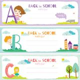 Back to School notes with  smiling happy kids Royalty Free Stock Images