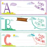 Back to School notes with  smiling happy kids Stock Image
