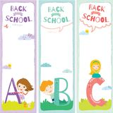 Back to School notes with  smiling happy kids Stock Photos