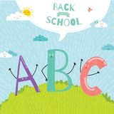 Back to School notes with  smiling happy kids Stock Images