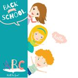 Back to School notes with  smiling happy kids Royalty Free Stock Photos