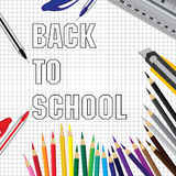 Back to school on a object tool background. Pencil ruler and tool on a white background. Royalty Free Stock Images