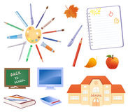 Back to school objects. Illustration of school design elements Stock Photos