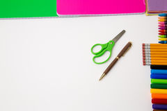 Back to school office items from above. Back to school office supplies white background paper pencil pen color crayon marker royalty free stock images