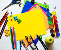Back to school and office supplies background stock image