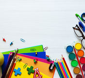 Back to school and office supplies background stock photo