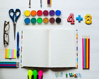 Back to school and office supplies background Royalty Free Stock Photography