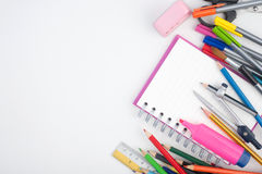 Back to School or office tools on white background Stock Photos