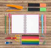 Back to School or office tools on wood background Royalty Free Stock Images