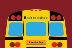 Back to school. One september; school bus; the yellow bus; bus to schoo; the first of September; training at school; homework; first day at school; 1 september Royalty Free Stock Photo