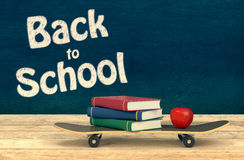 Back to school. One skateboard with books and an apple, concept of back to school, chalkboard background with empty space at the right of the image (3d render Royalty Free Stock Photos