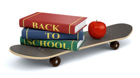 Back to school. One skateboard with books and an apple, concept of back to school (3d render Royalty Free Stock Photography