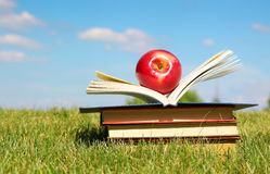 Back to School. Open Book and Apple on  Grass Royalty Free Stock Images